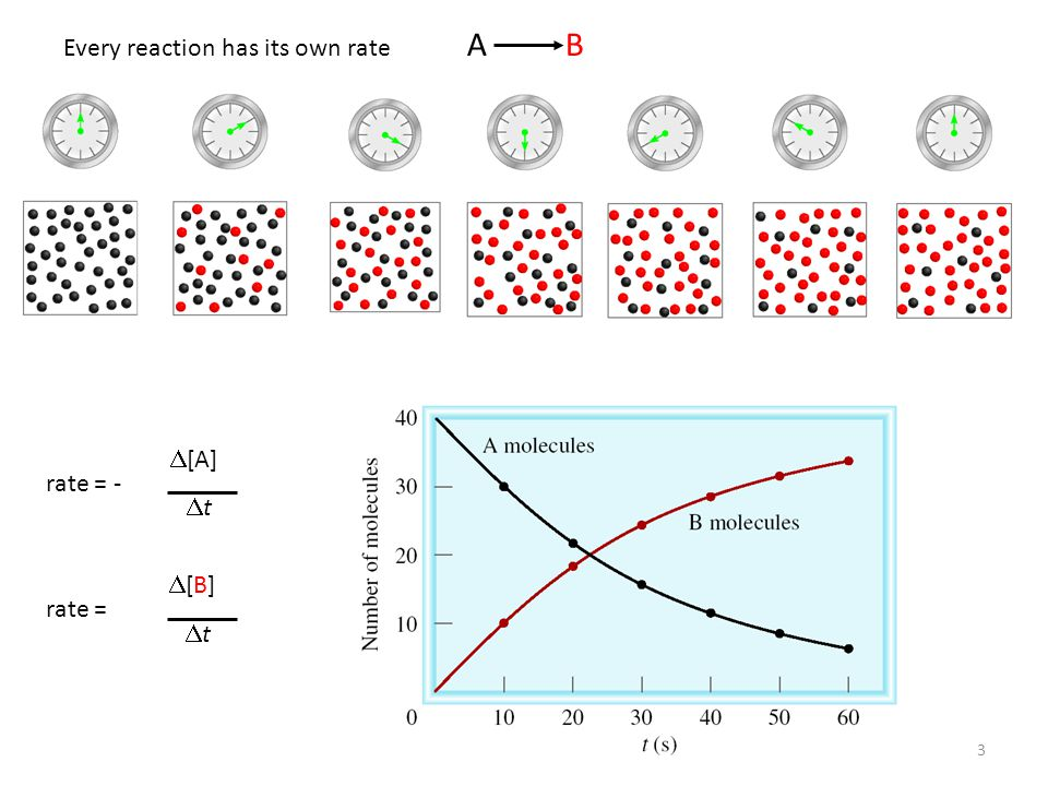 A B Every reaction has its own rate rate = - D[A] Dt rate = D[B] Dt